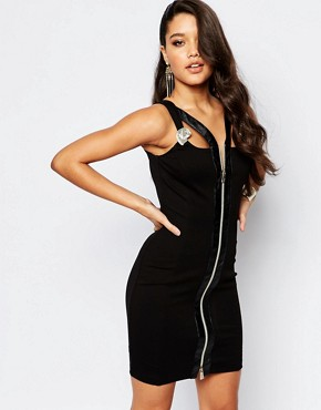 photo Cutout Bodycon Dress with Iconic Button Detail and Zip Front by Versace Jeans, color Black - Image 1