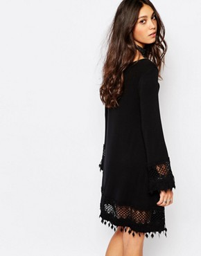 photo Festival Bell Sleeve Swing Dress with Crochet Trim Detail by Lira, color Black - Image 2