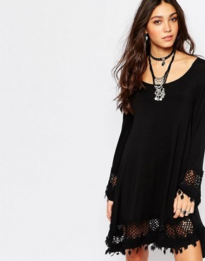 photo Festival Bell Sleeve Swing Dress with Crochet Trim Detail by Lira, color Black - Image 1