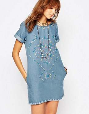 photo Embroidered Denim Dress with Raw Edge Detail by Pepe Jeans, color Denim - Image 1