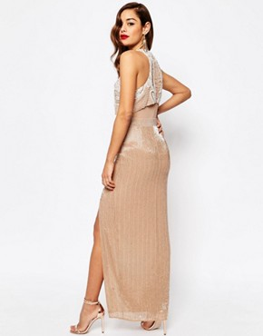 photo All Over Embellished Crop Top Maxi Dress by ASOS RED CARPET, color Nude - Image 2