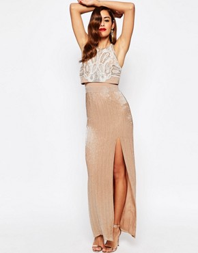 photo All Over Embellished Crop Top Maxi Dress by ASOS RED CARPET, color Nude - Image 1