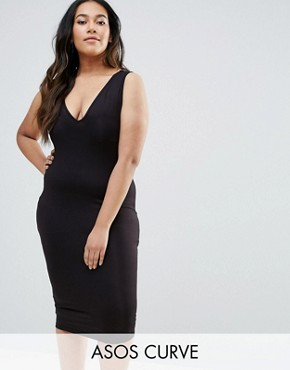 photo Midi Bodycon Dress with V-Neck by ASOS CURVE, color Black - Image 1