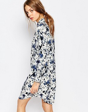 photo Printed Shirt Dress by Suncoo, color Blue - Image 2