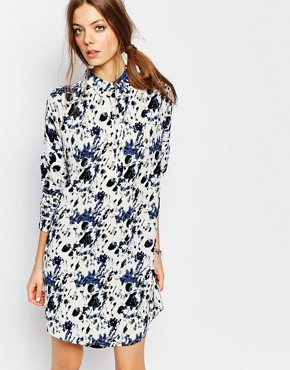 photo Printed Shirt Dress by Suncoo, color Blue - Image 1