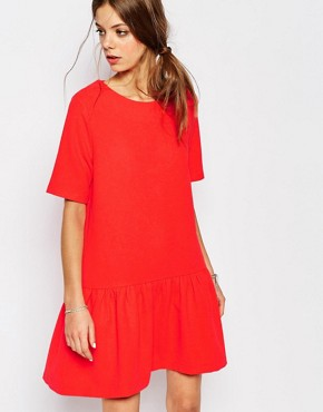 photo Open Back Drop Waist Dress in Red by Suncoo, color Red - Image 2