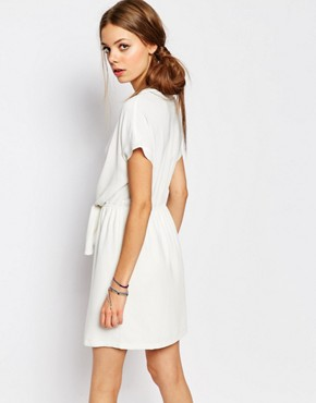 photo Tie Waist Dress in White by Suncoo, color White - Image 2