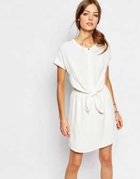 photo Tie Waist Dress in White by Suncoo, color White - Image 1