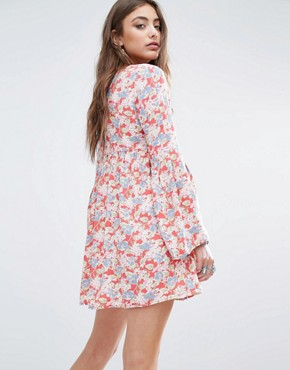 photo Deep V Floral Tea Dress with Bell Sleeve by Denim & Supply by Ralph Lauren, color Red - Image 2