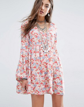 photo Deep V Floral Tea Dress with Bell Sleeve by Denim & Supply by Ralph Lauren, color Red - Image 1