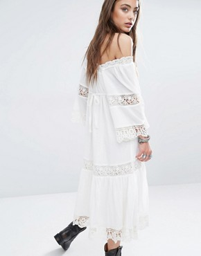photo Embroidery Anglaise Midi Dress with Bell Sleeve by Denim & Supply by Ralph Lauren, color White - Image 2