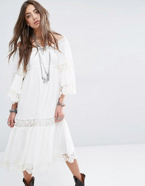 photo Embroidery Anglaise Midi Dress with Bell Sleeve by Denim & Supply by Ralph Lauren, color White - Image 1