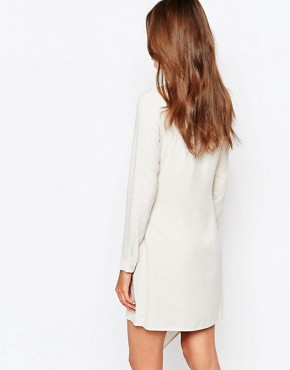 photo Wrap Detail Shirt Dress by Sisley, color Beige - Image 2
