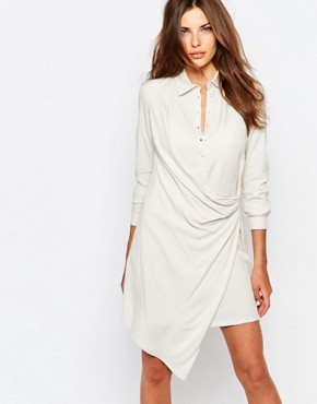 photo Wrap Detail Shirt Dress by Sisley, color Beige - Image 1