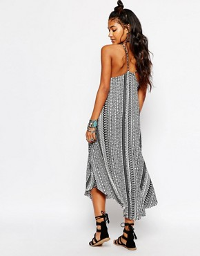 photo Floral Stripe Crochet Patch Midi Cara Beach Dress by Surf Gypsy, color Black - Image 2