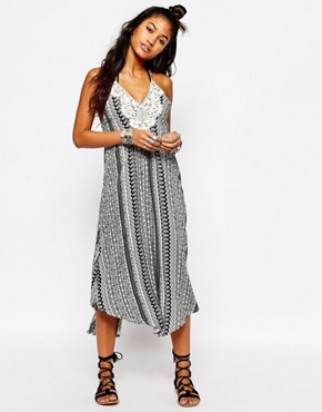 photo Floral Stripe Crochet Patch Midi Cara Beach Dress by Surf Gypsy, color Black - Image 1