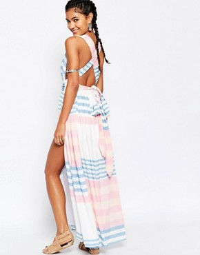 photo Crinkle Crepe Maxi Dress by Mara Hoffman, color Field Stripe - Image 2