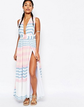photo Crinkle Crepe Maxi Dress by Mara Hoffman, color Field Stripe - Image 1