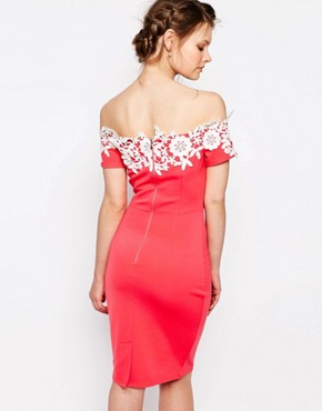 photo Sleeveless Pencil Dress with Contrast Lace Detail by Paper Dolls Petite, color Coral - Image 2