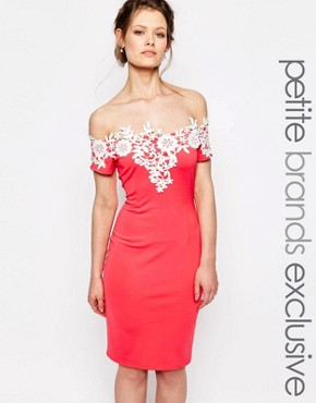photo Sleeveless Pencil Dress with Contrast Lace Detail by Paper Dolls Petite, color Coral - Image 1