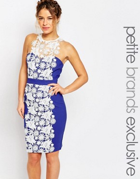 photo Lace Panel Halter Pencil Dress by Paper Dolls Petite, color Blue - Image 1