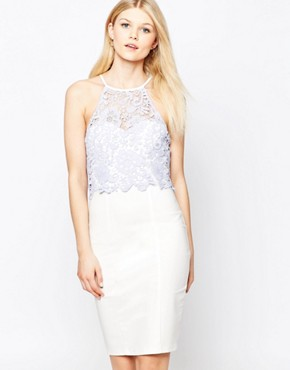 photo Lace Bodice Halter Pencil Dress by Paper Dolls Petite, color White - Image 2