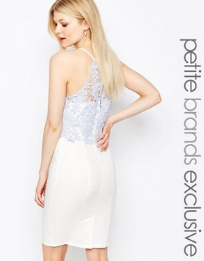 photo Lace Bodice Halter Pencil Dress by Paper Dolls Petite, color White - Image 1