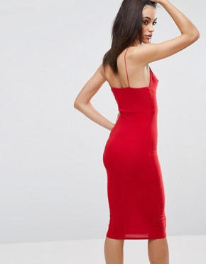 photo Midi Dress with Cami Strap by Club L, color Red - Image 2