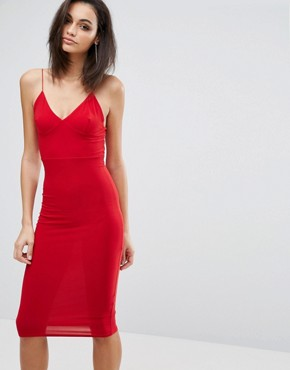 photo Midi Dress with Cami Strap by Club L, color Red - Image 1