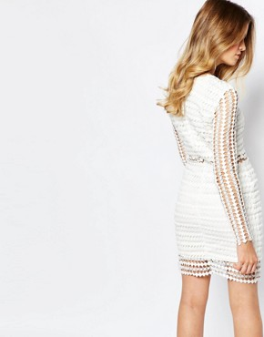 photo Cournocopia Cutwork Lace Mini Dress with Mesh Insert Waist by Goldie, color White - Image 2