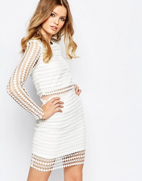 photo Cournocopia Cutwork Lace Mini Dress with Mesh Insert Waist by Goldie, color White - Image 1