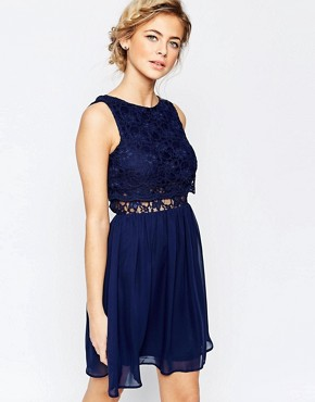 photo 2 in 1 Lace Top Skater Dress with Scallop Back by Elise Ryan, color Navy - Image 2