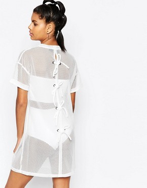 photo Mesh Dress with Lace Up Back by Story Of Lola, color White - Image 2