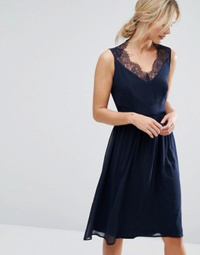 photo Skater Dress with Lace Panel Back by Elise Ryan, color Navy - Image 2