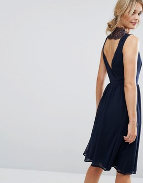 photo Skater Dress with Lace Panel Back by Elise Ryan, color Navy - Image 1