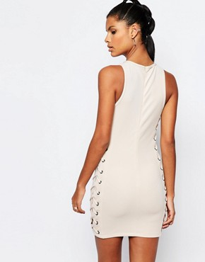 photo Neoprene Mesh Bodycon Dress with Lace Up Detail by Story Of Lola, color Nude - Image 2
