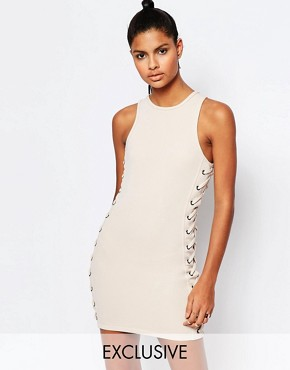 photo Neoprene Mesh Bodycon Dress with Lace Up Detail by Story Of Lola, color Nude - Image 1