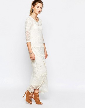 photo Lace Panel Maxi Dress by Navy London, color Cream - Image 1