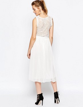 photo Midi Dress with Tulle Skirt by Navy London, color White - Image 2