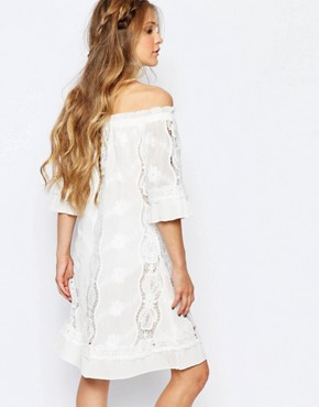 photo Off Shoulder Lace Dress by Navy London, color White - Image 2