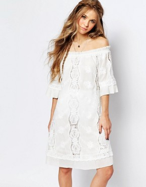photo Off Shoulder Lace Dress by Navy London, color White - Image 1
