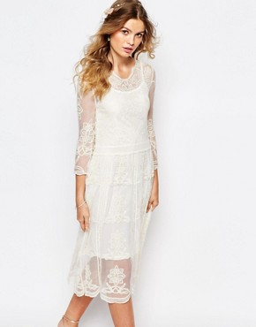photo Placement Lace Midi Dress by Navy London, color Cream - Image 1