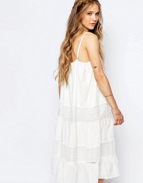 photo Cami Slip Dress with Tier Skirt by Navy London, color White - Image 2