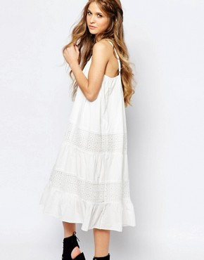 photo Cami Slip Dress with Tier Skirt by Navy London, color White - Image 1