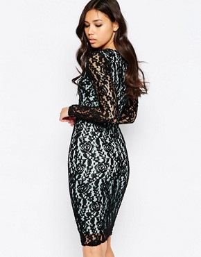 photo Charlize Fitted Pencil Dress with Lace Overlay by Amy Childs, color Black/Mint - Image 2
