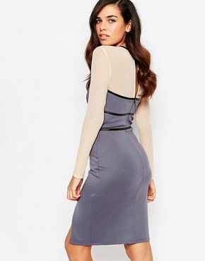 photo Paige Pencil Dress with Mesh Sleeves by Amy Childs, color Purple - Image 2
