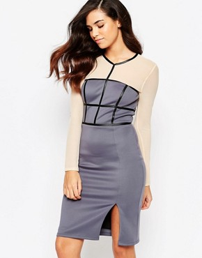 photo Paige Pencil Dress with Mesh Sleeves by Amy Childs, color Purple - Image 1