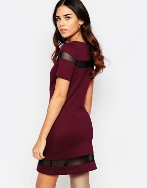 photo Suki Shift Dress with Mesh Inserts by Amy Childs, color Purple - Image 2