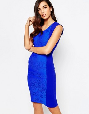 photo Yolanda Midi Dress with Lace Panel by Amy Childs, color Blue - Image 1