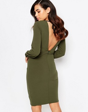 photo Taylor Lasercut Dress with Low Back by Amy Childs, color Khaki - Image 2